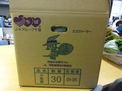 小松菜の段ボールには西船なな姫ちゃん